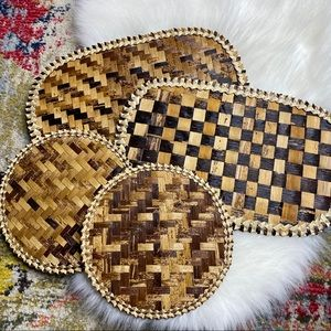 Vintage set of 4 Woven Wicker Placemats Hot Pads